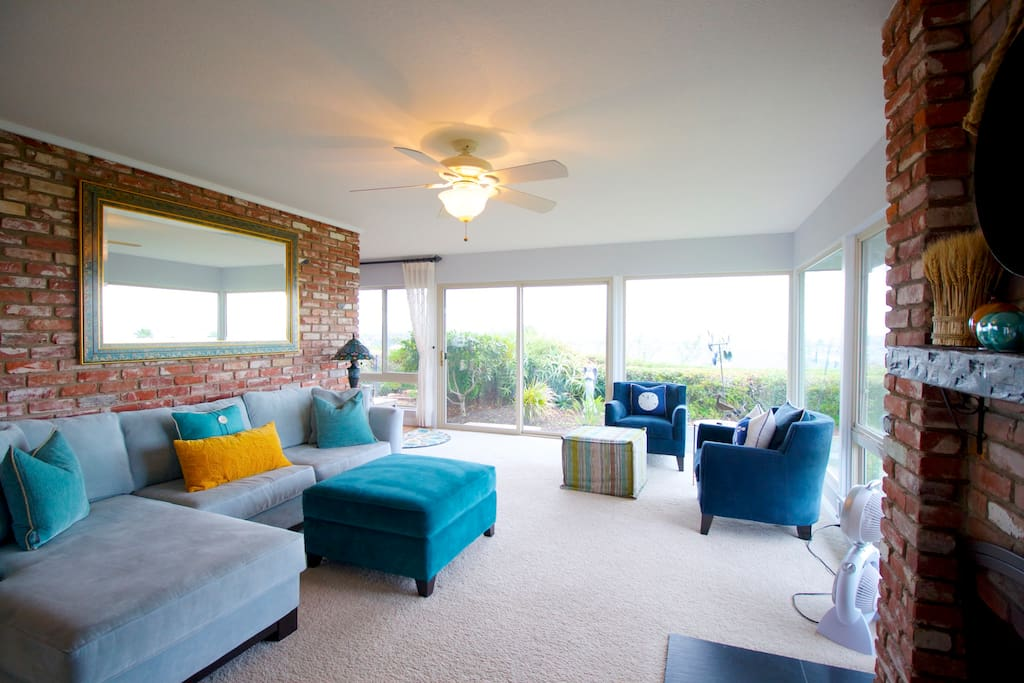 Our living room with 180 degree views.