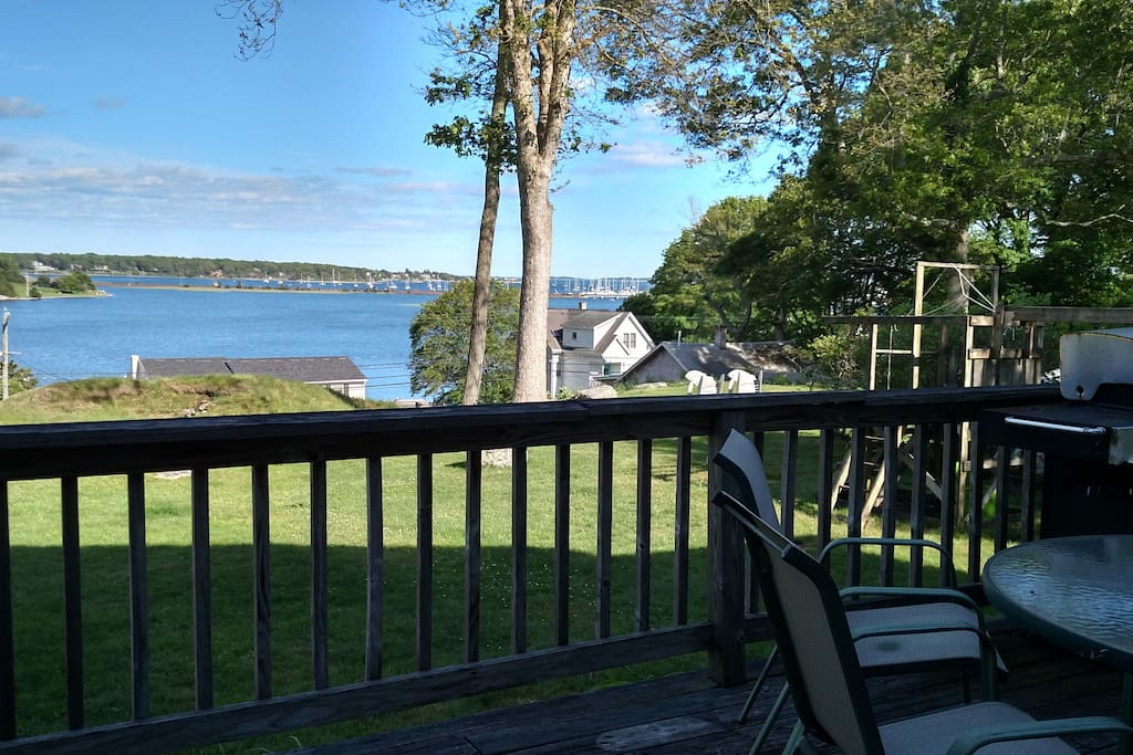 Back deck overlooking Mystic River & Fisher's Island Sound