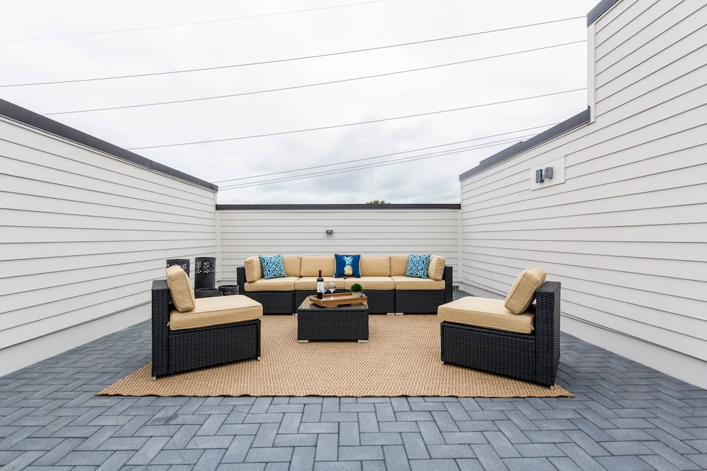 Lounge on the spacious rooftop deck.