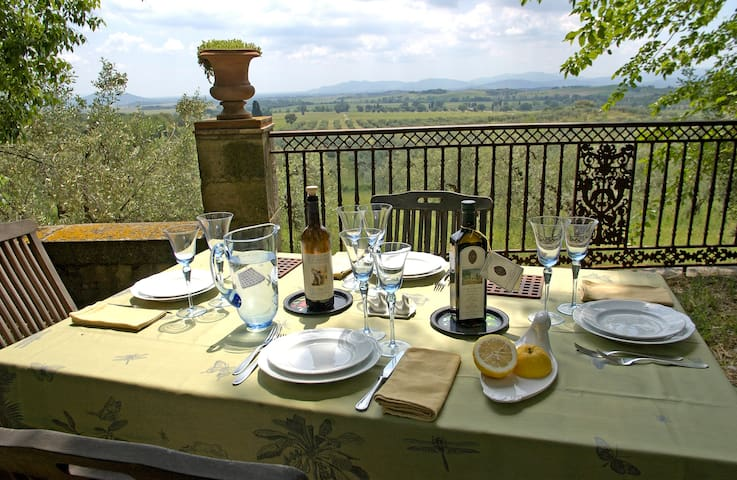 Furnished private garden in the terrace facing the olive grove