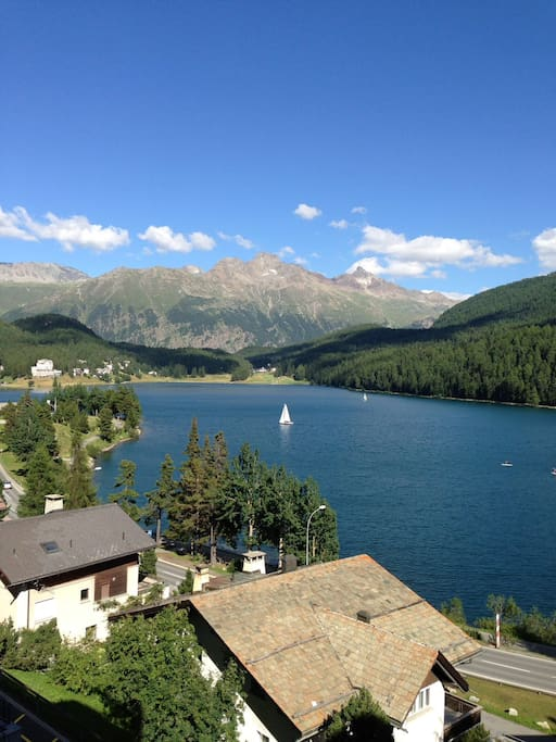 View of St Moritz's lake and Muottas Muragl from the balcony