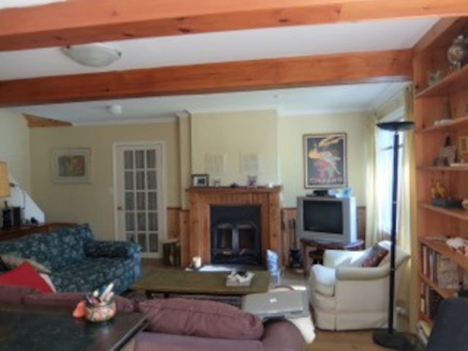 Fully operational fireplace and large living space with sofa large enough to accommodate another sleeper.