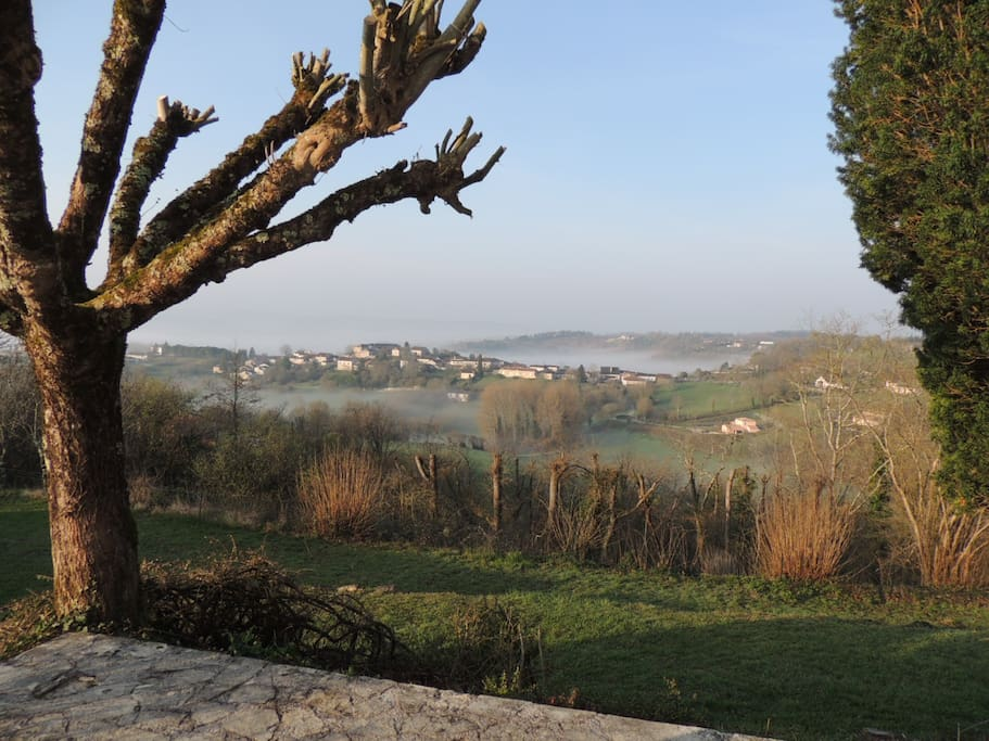 view of the village early morning from the eating terrace