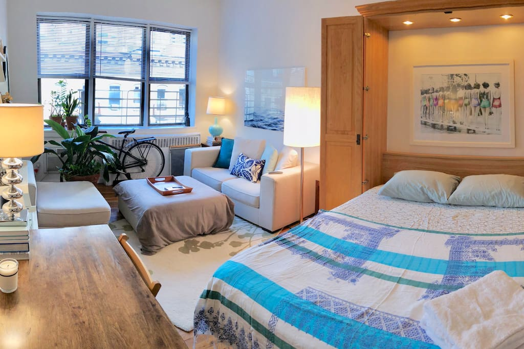 Living space with the comfortable queen sized Murphy bed easily lowered in 5 seconds