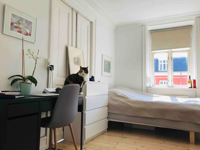 Light bedroom in charming Nørrebro Apartment + cat