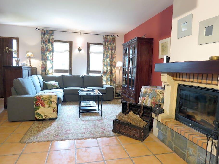 Salón de estar y chimenea