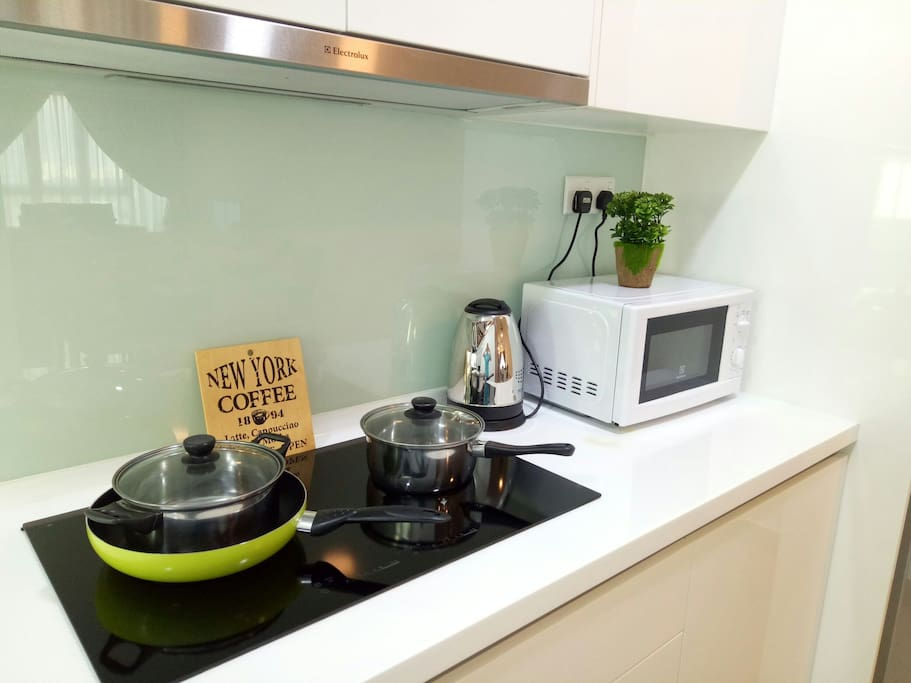 Basic Cooking Utensils, Pot, Microwave and electric kettle are provided