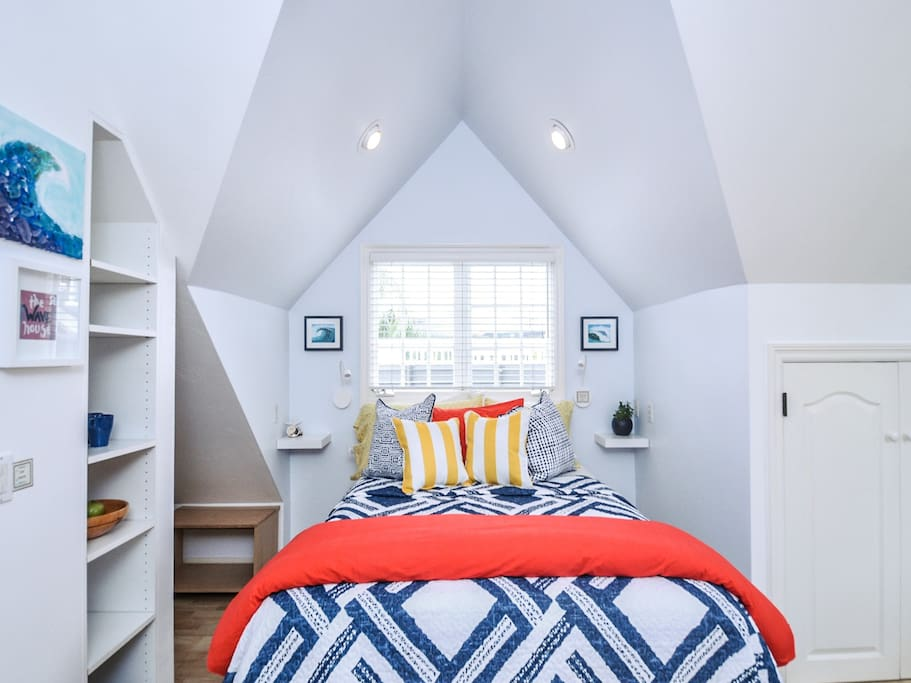Queen bed with great angled ceilings