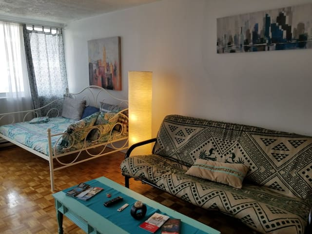 Med flat Downtown + free parking