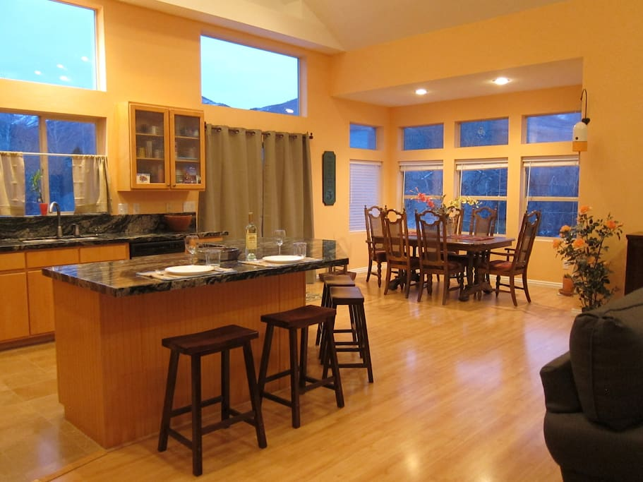 Kitchen Island and dinning  area,  with Powder Mt in back round