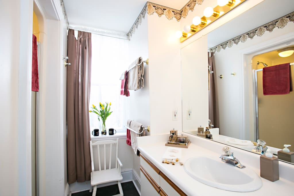 New ensuite  bathroom has shower and  large vanity with plenty of drawer and cupboard space.