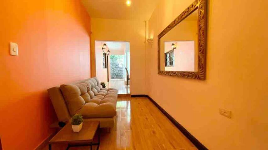 Segunda sala: Segunda sala: Encontramos un sofá color Gris Plomo, suave al tacto, estructura 100% madera, espumas certificadas que conservan su forma, relleno de algodón siliconado para máximo confort y en frente un gran espejo y luces cálidas