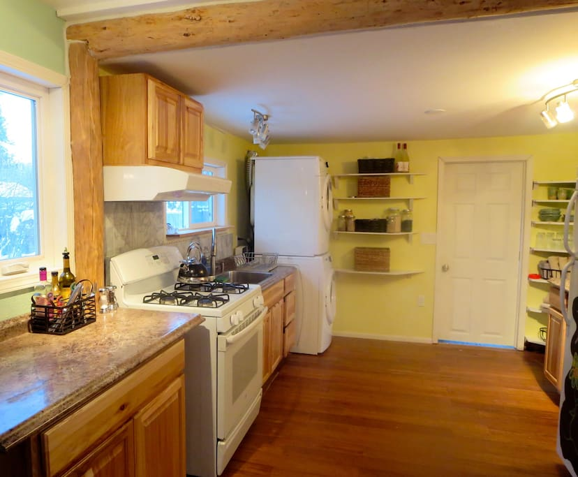 Make yourself at home in this cozy, clean kitchen.  Hand made pottery. Washer and Dryer.