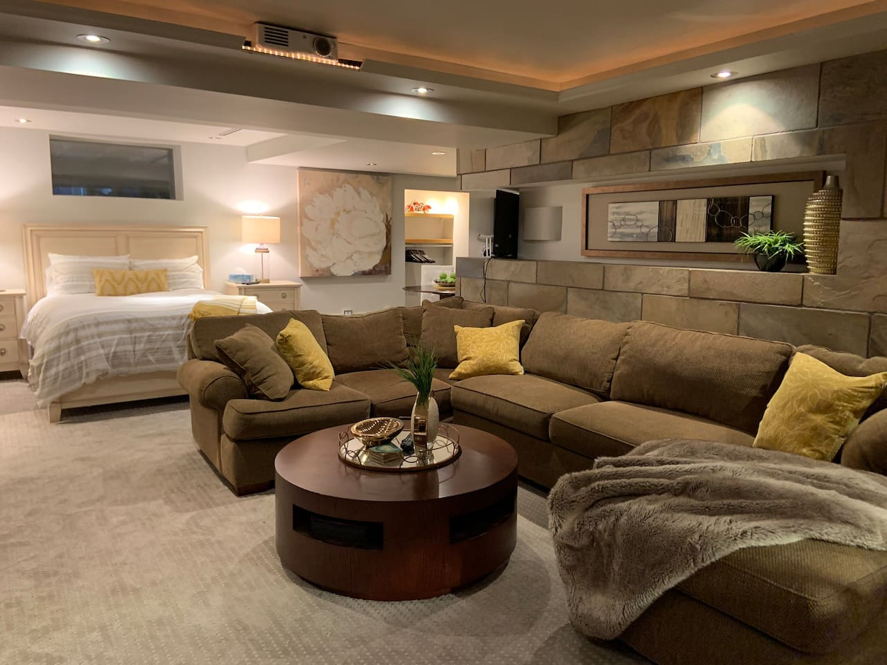 Cozy and spacious living area with Gas Fireplace
