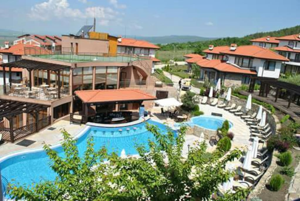 ariel view main pool and cafe bar with terrace