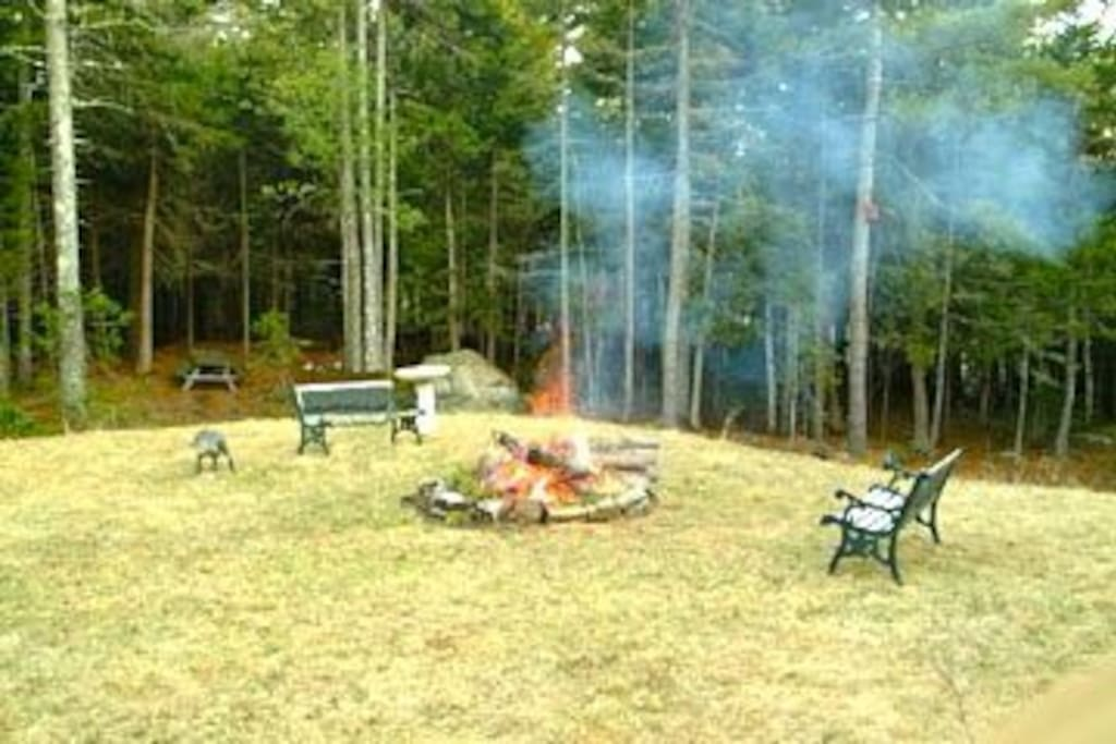 Large secluded backyard on wooded hillside.  Fire pit, picnic table, and barbeque.