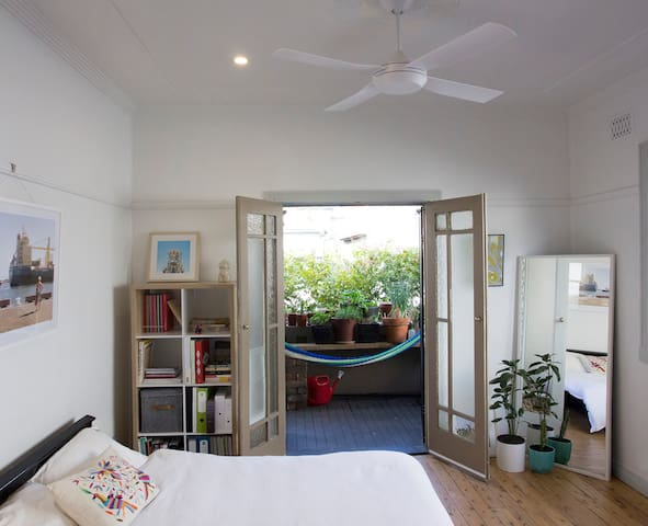 Large room, double bed + private balcony.