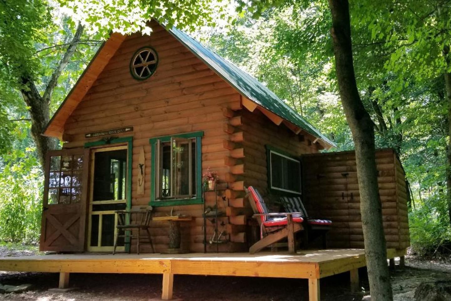 Off-grid cabin in the woods.