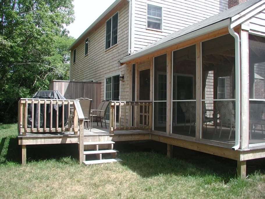 Deck, screened in porch and outdoor shower