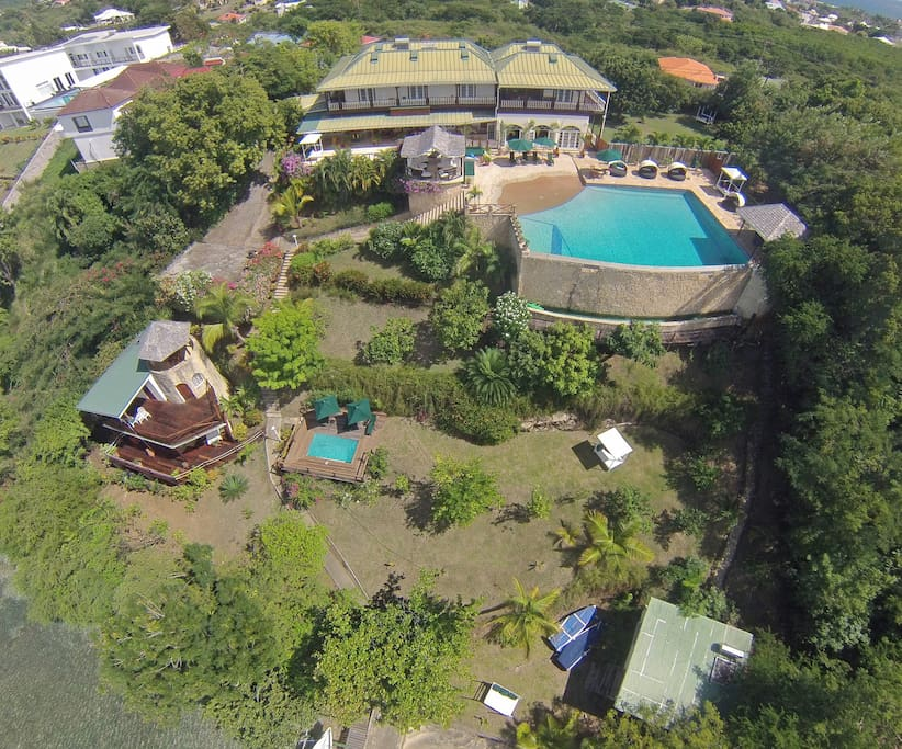 Aerial view of Main House, Pool and Sugar Mill Tower