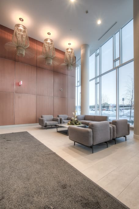Lobby with concierge and 24 hour security to check you in.