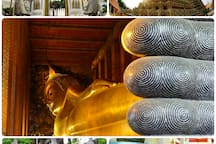 Wat Pho 'Temple of the Reclining Buddha' is 1.3 kilometers away or 3 bus stops from our house.