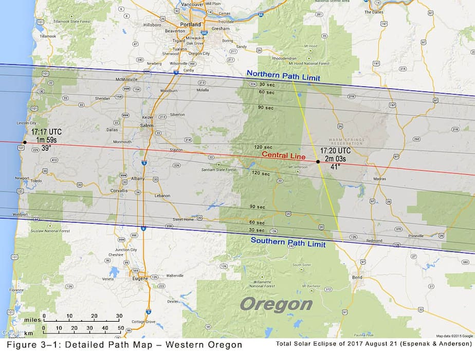 The longest expanse of totality in the valley passes through Monmouth.