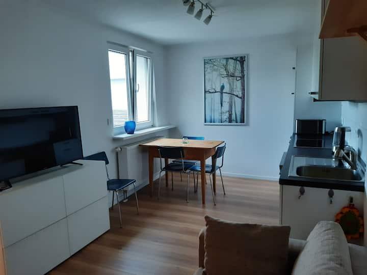 Apartment mit Innenhof, Rasen und Parkplatz