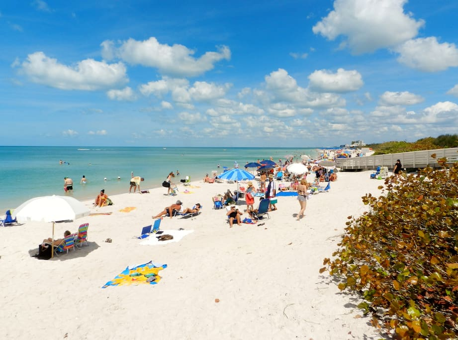 Beautiful white sand Clam Pass beach is only 0.6 miles away
