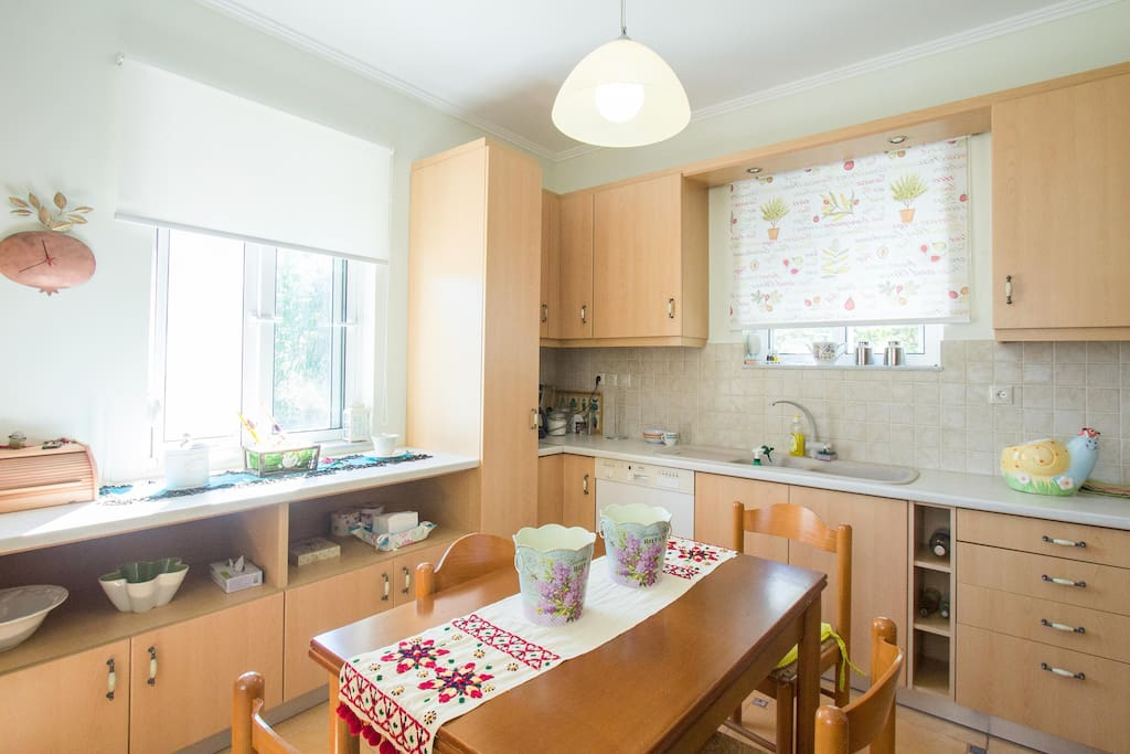 Large and equipped kitchen for preparing your own meals. Washing machine and dishwasher