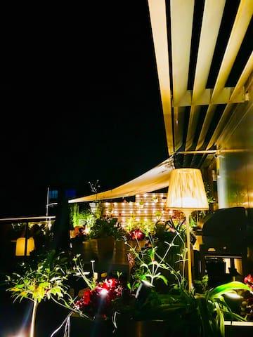 Beautiful nighttime terrace
