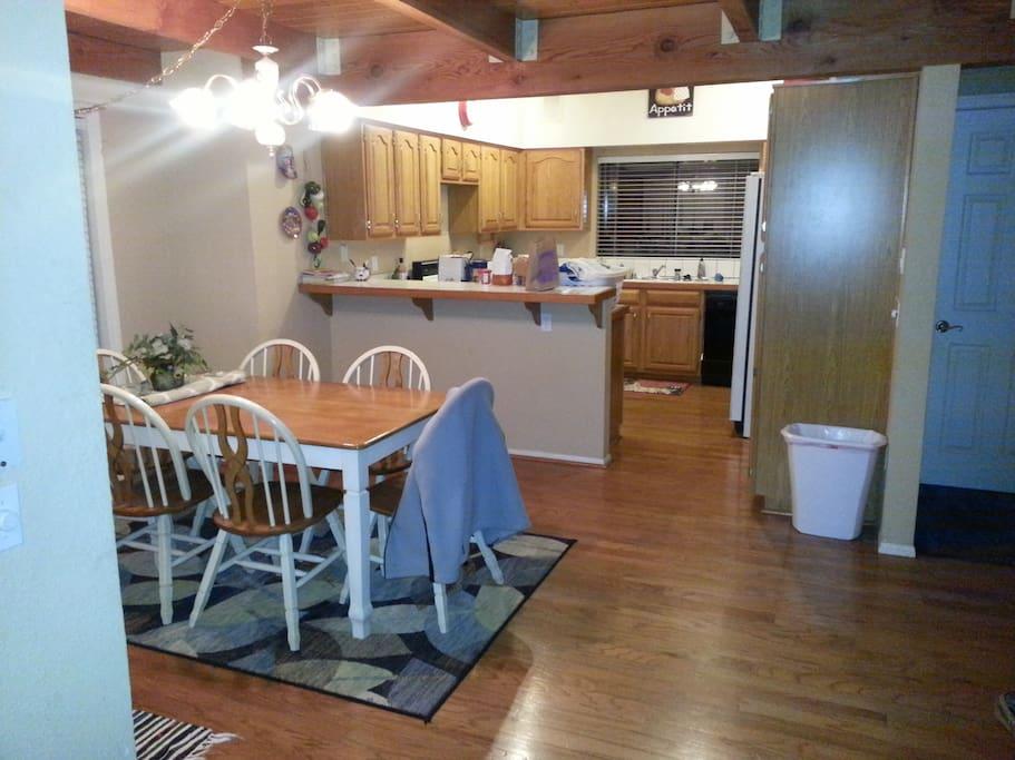large kitchen, dining room, full bathroom