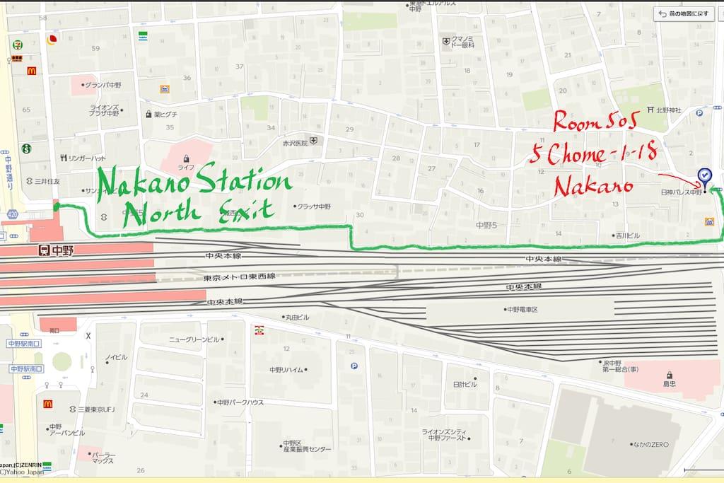 8-minute walk eastward from JR Nakano Station North Exit
