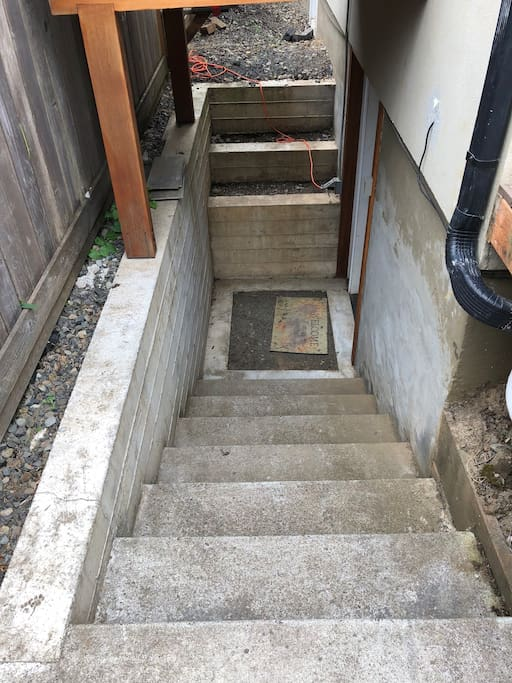 Stairs leading to studio entrance
