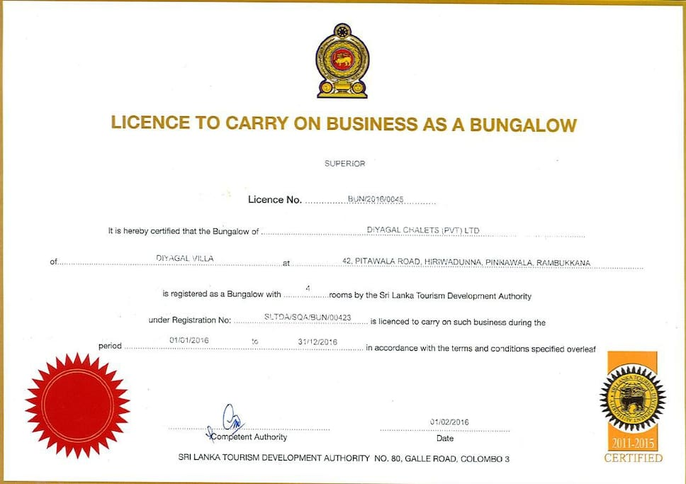 Certified 'Superior' by the Sri Lanka Tourist Board.