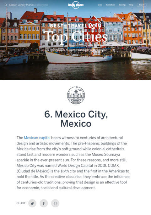 Mexico City ranked 6th place in Lonely Planet 10 top cities to visit in 2019. Choose this apartment great location for your visit to Mexico.