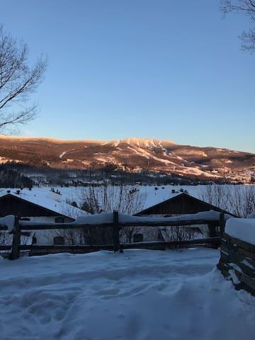 View of the mountain from inside the condo.  Vue de la montagne prise à l'intérieur du condo.