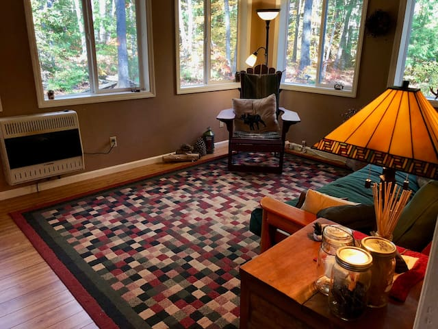 The Adirondack Room faces west and looks out to the back yard and hundreds of trees. This is a terrific family room. With eight double-sized windows, the room is full of natural light even on rainy days.
