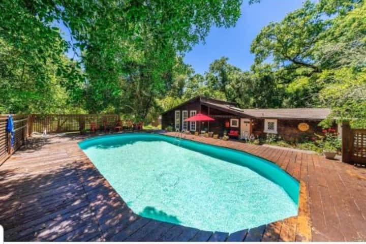 Lrg Glen Ellen Estate on Creek w Pool/Spa sleeps 8