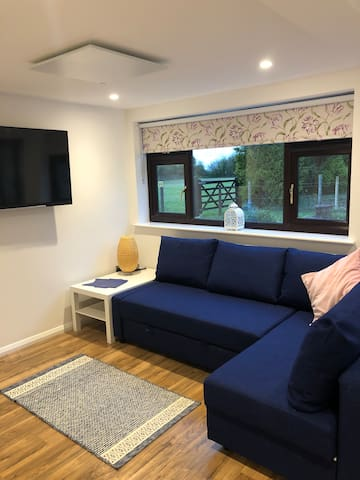 Lounge downstairs with sofa bed. TV has Netflix. View out is over fields and hopefully lots of birds on the bird feeders.  :)