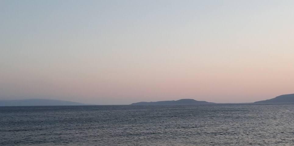 Sunset from Ambelakia beach - the closest beach from Villa Gaia