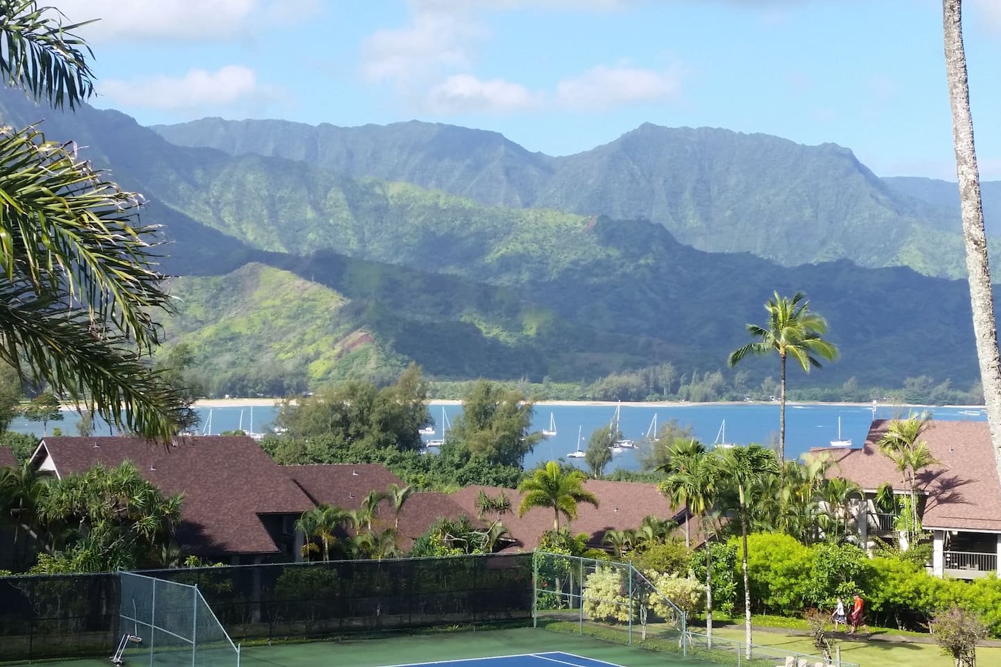 INCREDIBLE PANORAMIC views from Unit private LANAI of Mountain Ranges, Multi Waterfalls, and Sailboats...