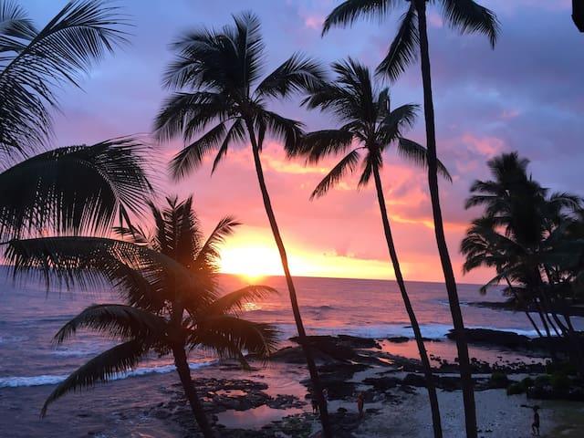 Across street from beach, peaceful Kona condo - Kailua-Kona - Társasház