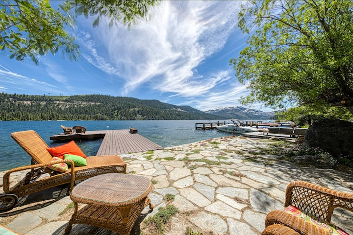 Dog-friendly lakefront home with private dock & 180 degree views!