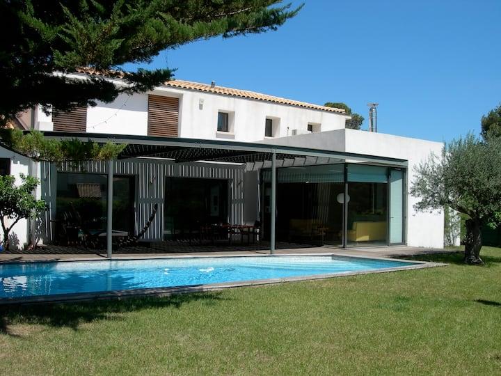 Maison d'architecte avec piscine à l'Aiguelongue