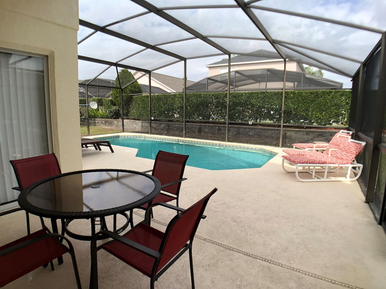 Your private pool and covered lanai, great for al fresco dining