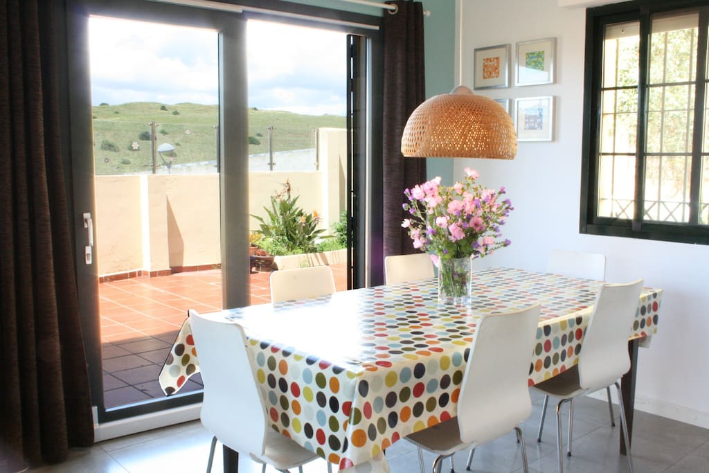 dinning area with views of the hills