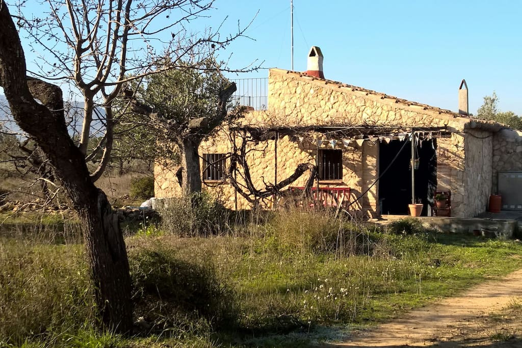 The stone-built casita sits in 8 acres of olive and almond groves.