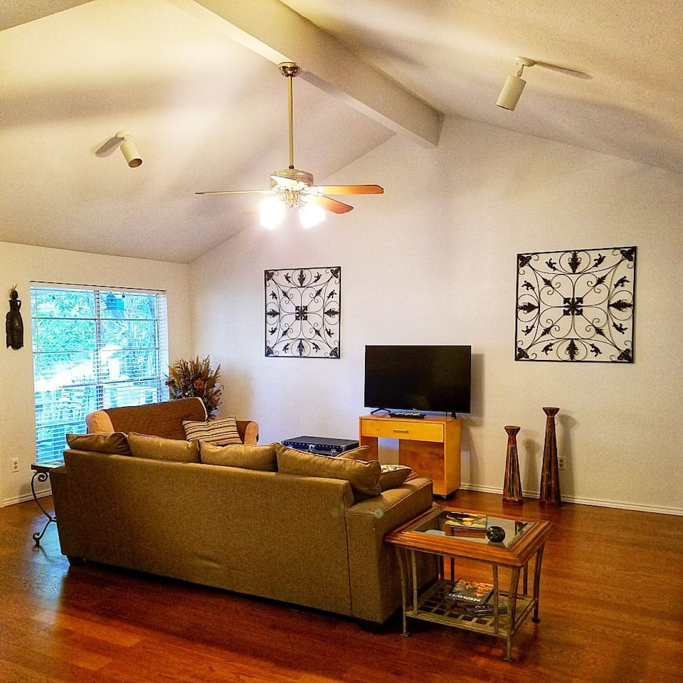 Comfortable Living Room with Queen size and twin size Sleeper Sofa Beds.