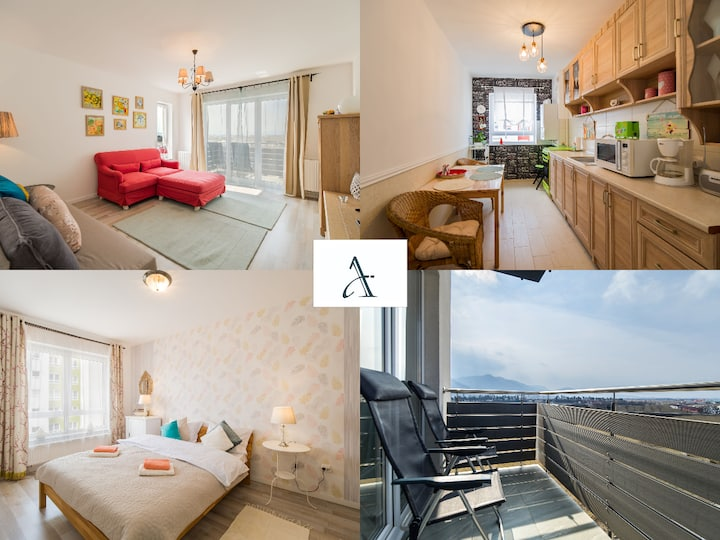 🔑Apartment Pastel 🛋️  relax 🏔️ view 🚘parking❤️